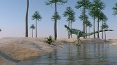 dilophosaurus on shore