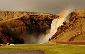 Rainbow spray from Skogafoss waterfall, Iceland