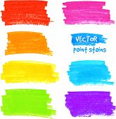 foto of dab  - Bright rainbow colors marker realistic vector stains - JPG