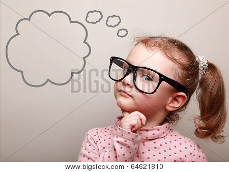 Cute Thinking Kid Girl In Glasses With Empty Bubble Looking poster