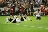 VALENCIA - MAY, 1: Valencia players on the floor after Sevilla goal during Europe League semifinals
