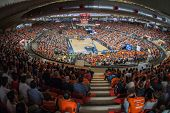 VALENCIA - MAY, 1: Crowd of people in Fonteta stadium during a Eurocup Finals match between Valencia Basket Club and Unics Kazan on May 1, 2014 in Valencia, Spain