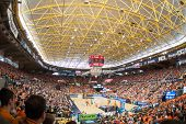 VALENCIA - MAY, 1: Crowd of people in Fonteta stadium during a Eurocup Finals match between Valencia