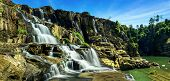 Tropical Rainforest Landscape Panorama With Flowing Pongour Waterfall. Da Lat, Vietna