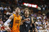 VALENCIA - MAY, 3: Lavrinovic (left) and Grimau during a Spanish league match between Valencia Baske