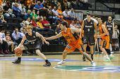VALENCIA - MAY, 3: Diaz drives the ball during a Spanish league match between Valencia Basket Club a