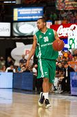 VALENCIA - MAY, 1: Andrew Goudelock drives the ball during a Eurocup Finals match between Valencia B