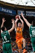 VALENCIA - MAY, 1: Jump shot of Doellman #7 during a Eurocup Finals match between Valencia Basket Cl