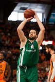 VALENCIA - MAY, 1: Foul shot of Vougioukas during a Eurocup Finals match between Valencia Basket Club and Unics Kazan at the Fonteta Stadium on May 1, 2014 in Valencia, Spain