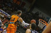VALENCIA - MAY, 3: Lay-up of Aguilar during a Spanish league match between Valencia Basket Club and