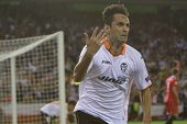 VALENCIA - MAY, 1: Jonas celebrate the second goal during UEFA Europe League semifinals match betwee