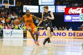VALENCIA - MAY, 3: Lafayette drives the ball during a Spanish league match between Valencia Basket C