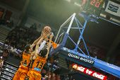 VALENCIA - MAY, 3: Alley-oop of Aguilar #34 adn Lucic #13 during a Spanish league match between Valencia Basket Club and Bilbao at the Fonteta Stadium on May 3, 2014 in Valencia, Spain