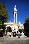 Monument in Plaza Triunfo, Seville.