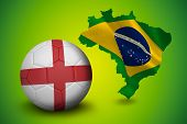 Football in england colours against green brazil outline with flag