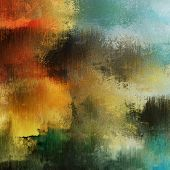 art colorful abstract acrylic and pencil background in yellow, orange, green, brown and black colors