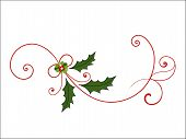 stock photo of mistletoe  - Elegant Christmas Flourish with mistletoe berries and coils - JPG
