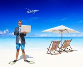 Businessman Working in his Vacation