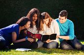 picture of scriptures  - Group of Young people Studying the Bible together - JPG