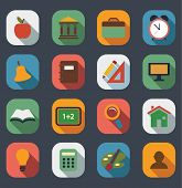 Flat School Icons set.Vector