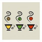 Set of three vector cups of tea. Vector illustration.
