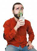 the man doing inhalation