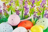 Easter Eggs With Lavender Background
