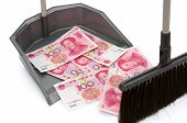 Rmb In Rubbish Bin And A  Besom, Monetary Concept