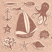 Silhouette Sea - Hand drawn set of sea symbols