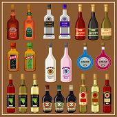 Set Alcoholic Beverages. Vector