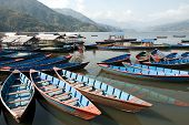 Boats Parked On Fewa Lake