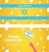 Happy Shavuot , Jewish holiday. Israeli flag of cheese background