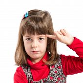 Child Making A Crazy Gesture Over White Background