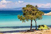 Beautiful Panorama Of Karidi Beach In Vourvourou, Sithonia, Greece
