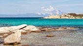 Karidi Beach In Vourvourou View To Athos, Sithonia, Greece