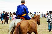 Rider In Traditional Deel, Nadaam Horse Race