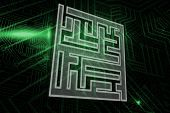 Maze against green and black circuit board