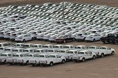 AQABA, JORDAN - MARCH 14, 2014: New cars on the holding yard. Hyundai and Toyota keep the leading po