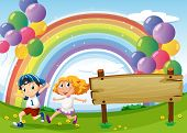 Illustration of an empty board and two kids playing below the floating balloons and rainbow