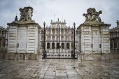 Main gate, majestic palace of Aranjuez in Madrid, Spain