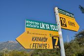 OLUDENIZ, TURKEY - MARCH 30, 2014: Sign on the Lycian Way near Oludeniz, Fethiye district of Mugla p