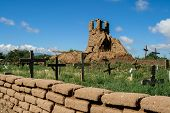 stock photo of pueblo  - Old belltower from San Geronimo Chapel in Taos Pueblo USA - JPG