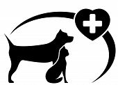 Veterinary Symbol With Dog And Cat