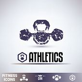 Gym Icons, Fitness Grunge Emblems Collection