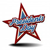 detailed illustration of a patriotic star with Presidents Day text, eps 10 vector