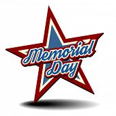 detailed illustration of a patriotic star with Memorial Day text, eps 10 vector