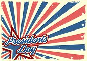 detailed illustration of a grungy stars and stripes backbround with Presidents Day text, eps 10 vector