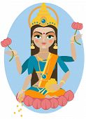 stock photo of hindu  - vector illustration of Hindu deity mother Lakshmi - JPG