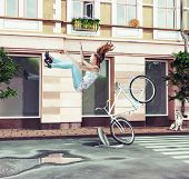 The girl falling off her bicycle on city street. Creative concept Photo compilation