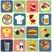 Flat icons for food